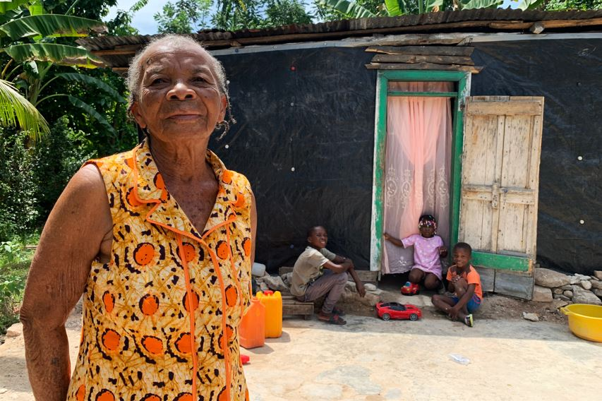 Edna and her family in Haiti