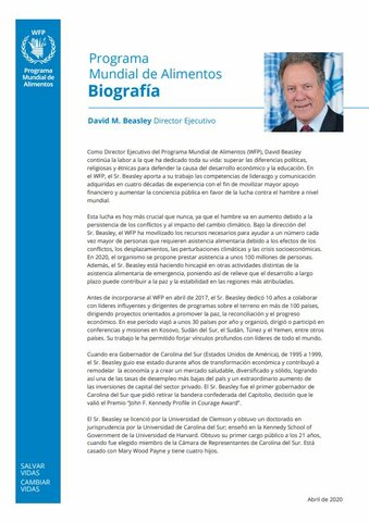 2020 -  WFP Executive Director - Biography in Spanish
