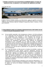 Centro Logístico de Asistencia Aumanitaria (CELAH) al servicio del Ecuador y los países de Amèrica Latina